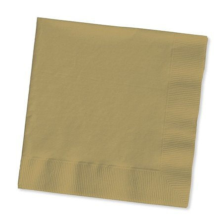 100 gorgeous GOLD lunch/dinner napkins for wedding/party/event, 2ply, disposable, Large Size 6.5