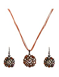 Krishnas Orange Color Necklace Sets For Women-KT066