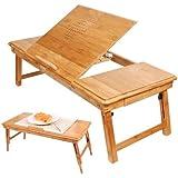 SoBuy FBT04-L-N Table de lit pliable pour repas, PC portable, iPad etc. en double plateaux en bambou, Qaulité super L72cmxP35cm Aussi convenable pour Gauchers!