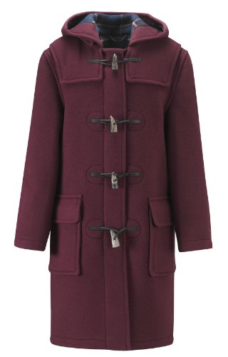 Womens Long Duffle coats -- Burgundy