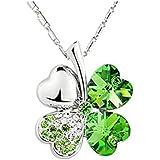 "Merry Harry Swarovski Elements Crystal Four Leaf Clover Pendant Necklace 19"""