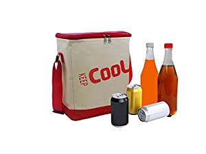 Soft Beverage and Lunch Cooler Bag with Aluminum Thermal Liner and Adjustable Shoulder Strap