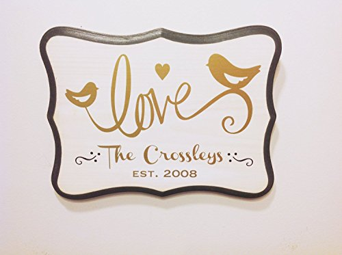 Personalized Love birds Sign/Key Holder in Gold/Silver. Great Gift Idea for Wedding, Engagement Gift. Personalized Wedding Gift for Couples.