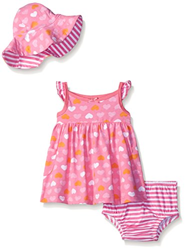 Gerber Baby Three-Piece Sundress, Diaper Cover and Hat Set, Heart, 24 Months