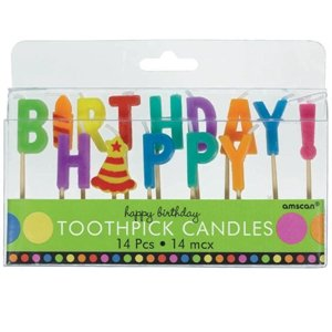 Amscan Dots and Stripes Happy Birthday Toothpick Candles (14
