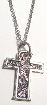 Sara Blaine Fine .925 Sterling Silver Filigree Cross Pendant With 18