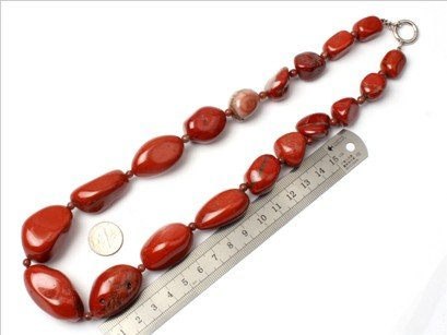 16--30mm graduated gemstone red jasper beads strand necklace 18