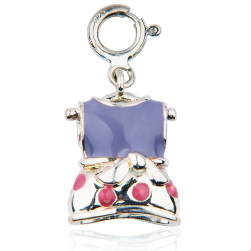 Sterling Silver Purple and Pink Epoxy Shirt and Skirt Charm
