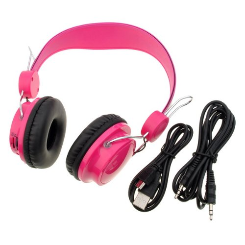 Pink Sports Mp3 Player Headphones Fm Radio Card-Inserted Digital Headset For Phone Pc