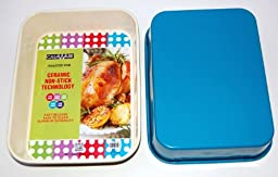 casaWare Ceramic Coated NonStick Lasagna/Roaster Pan 13 x 10 x 3-Inch (Cream/Blue)
