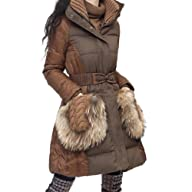 Artka Women's Lux Raccoon Hair Puff Down Filled 90% White Duck Down Coat
