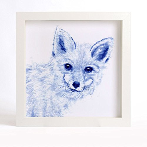fox-art-print-curious-fox-watercolor-painting-blue-fox-fine-art-print-chinoiserie-art-indigo-blue-an