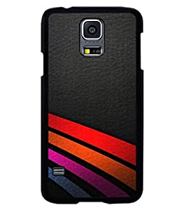 printtech Leather Stripes Colored Design Back Case Cover for Samsung Galaxy S5 Mini::Samsung Galaxy S5 Mini G800F