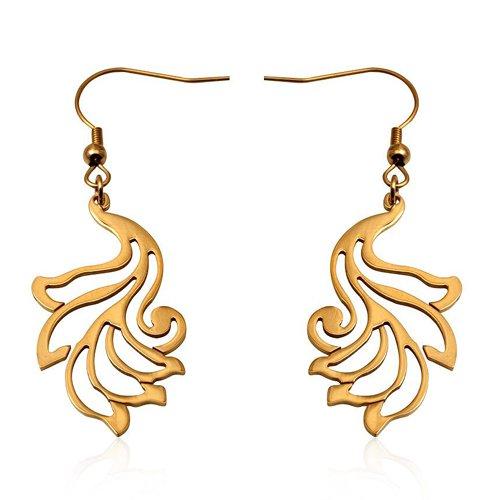 Stainless Steel Gold Jewelry Earrings 6.50cm