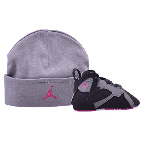 Jordan 7 Retro Gift Pack Crib Shoes Black/Sport Fuchsia-Grey 305076-008 (4 M US)