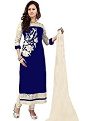 AnK Blue Beautiful Embroidered Designer Georgette Semi Stitched Fancy Dress Materials With Dupatta