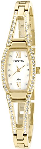 Armitron Women's 75/3530MPGP Swarovski Crystal Accented Gold-Tone Bangle Watch