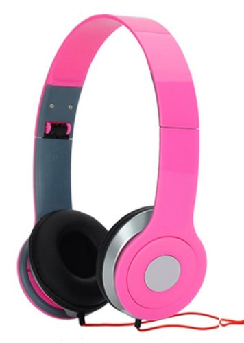 Adjustable Circumaural Pink Over Ear Hifi Stereo Stero Earphone Headphone For Pc Mp3 Mp4 Ipod