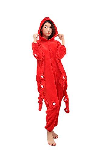 [Aini-cc Octopus Sleepsuit Unisex Halloween Onesies Pajamas Cosplay Costume Red M] (Red Octopus Pajama Costumes)