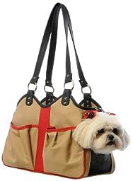 Petote Metro 2 Pet Carrier Bag, Petite, Khaki/Black/Red
