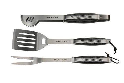 Man Law 3-Piece Stainless Steel BBQ Tool Set, Silver Reviews