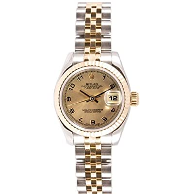 Rolex Ladys Style Heavy Band Stainless Steel & 18K Gold Datejust Model 179173 Jubilee Band Fluted Bezel Champagne Arabic Dial from Rolex