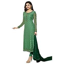 Radhika Green Brasso Dress Material