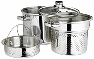 World Of Flavours Italian Stainless Steel 20cm Pasta Pot With 4 Litres Steamer Insert