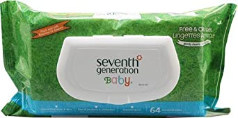 Seventh Generation Free & Clear Baby Wipes with easy open top, 64 count packs (pack of 12) (768 wipes)