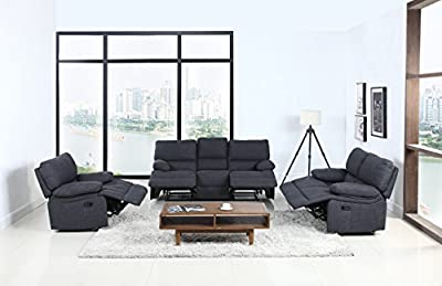 Classic and Traditional Dark Grey Fabric Oversize Recliner Chair, Love Seat, and Sofa