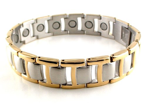 Silver & Gold Stainless Steel Link Magnetic Bracelet #38GS 8