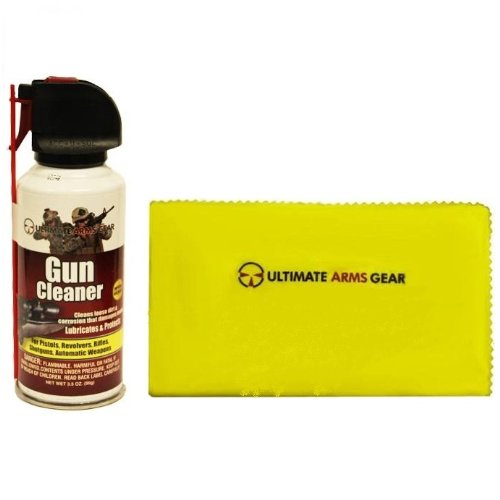 "Ultimate Arms Gear Pro Armorer's Gun Cleaner Lubricant Protector Preservative Jet Action Spray Safe Aerosol Travel Range Field Can Bottle Cleans Loose Dirt, Rust & Corrosion that Damages Metal Parts for Cleaning Firearms Pistols, Revolvers, Rifles, Shotguns & Auto Weapons + Gun Care and Reel Silicone Lubricated Cleaning Cloth 12"" x 14"""