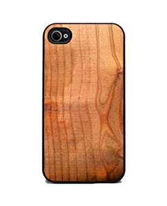 Wood Grain - iPhone 4 or 4s Cover, Cell Phone Case - Black Silicone Rubber Sides