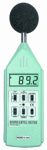Reed SL-4022 Sound Level Meter with LCD Display, 30 to 130 dB Measuring Range, 0.1 dB Resolution, 31.5 Hz to 16.0 kHz Frequency