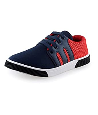 Earton Men's Blue & Red Canvas Sneakers