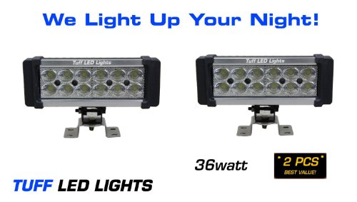 "Tuff Led Lights 2 X 8"" Inch Super Led Flood Light Bar 36 Watt 1600 Lumen Utv Atv Polaris Rzr Razor Yamaha Rhino Can Am Commander Truck Off Road Suv Trailer Golf Cart"