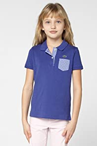 Girl's Short Sleeve Jersey Polo With Polka Dot Pocket