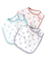 3 Pack Pure Cotton Spotted Bibs