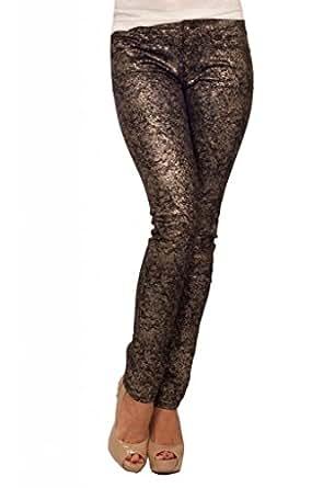 Womens Fitted Metallic Splatter Denim Low Rise Pocket Long Skinny Party Jeans