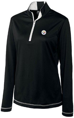 NFL Pittsburgh Steelers Women's CB DryTec Long Sleeve Choice Zip Mock Top, Black, Large at Amazon.com