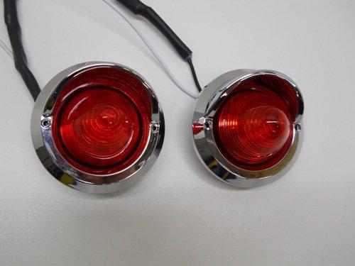 "(2) Red 2"" Round 9 Led Beehive Mini Stop Turn Brake Tail Lights / Golf Carts"