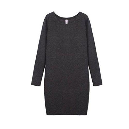 Aokdis Womens Autumn/Winter Velvet Round Collar Woolen Thickening Dress Skirt (Xl, Dark Grey)
