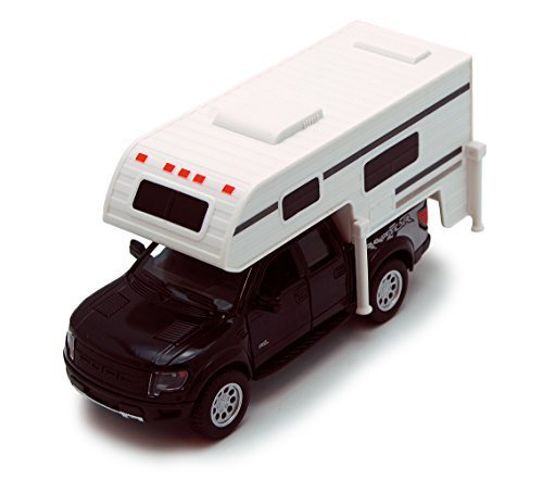 Black 6-inch 2013 Ford F-150 SVT Raptor SuperCrew Camper 1/46 Scale Truck with Pullback Action - 1