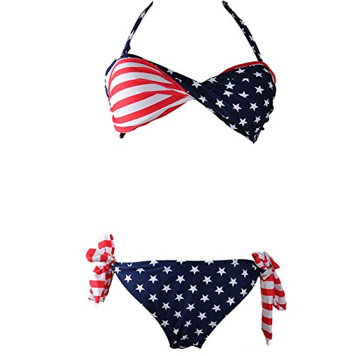 Little Hand Women's Padded Twist Bandeau Bikini Set USA Flag Swimsuit Blue S (American Flag Bandeau Top compare prices)