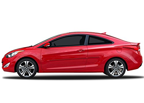Painted Body Side Molding with Color Insert for Hyundai Elantra Coupe (2013-2016) - Red Allure Pearl (S2R) with Dark Blue Color Insert Allure Coupe