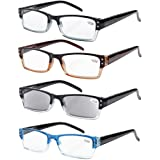 Eyekepper 4-pack Spring Hinges Rectangular Reading Glasses Includes Sun Readers +2.50
