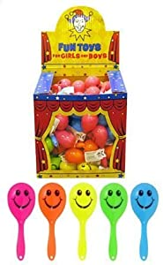 12 x mini smiley maracas- Great party bag fillers