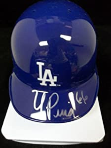 Signed Puig, Yasiel (Los Angeles Dodgers) Los Angeles Dodgers Mini Helmet autographed by Powers+Collectibles