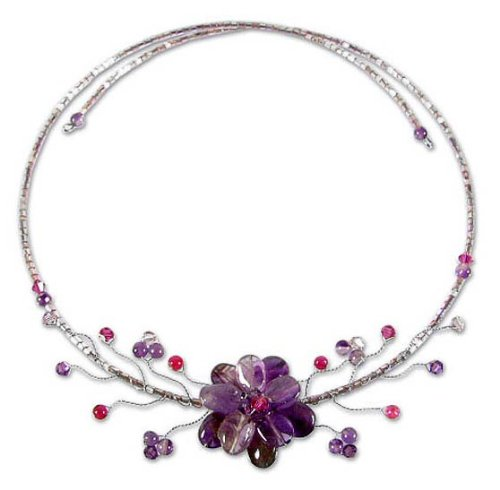 Amethyst and quartzite flower necklace, 'Lilac Bouquet' 1.2