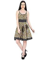 Woodin Straped Round Neck Animal Print Knee Length Dress for Women